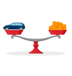car and money on balanced scale rental or sale vector image vector image