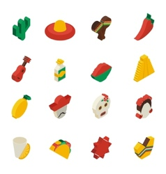 Mexican icons isometric vector