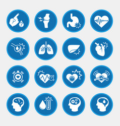 obesity related diseases icons with blue circle vector image vector image
