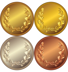 Set of the gold silver and bronze coins vector