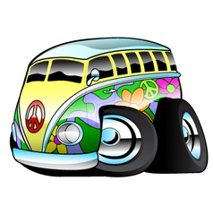 Colorful Hippie Surfer Bus vector image