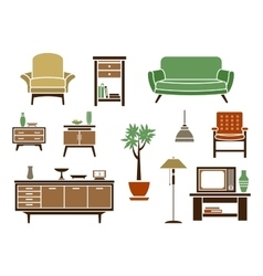 Flat interior and furniture icons vector image
