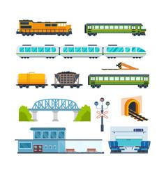 locomotive freight car passenger car station vector image vector image