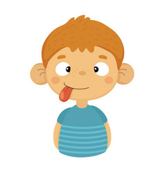 silly cute small boy with big ears and tongue out vector image vector image