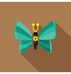 steampunk butterfly - flat icon with long shadow vector image