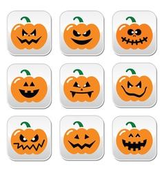 Halloween pumpkin buttons set vector image