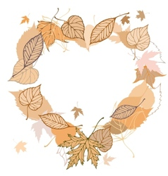 Heart shaped wreath made of autumn leaves vector image