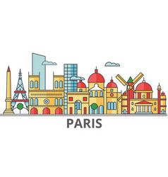 paris city skyline buildings streets silhouette vector image