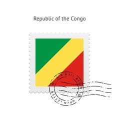 Republic of the Congo Flag Postage Stamp vector image