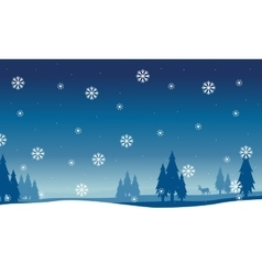 Silhouette of spruce landscape with snowflakes vector image vector image