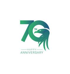 70 th anniversary bird model template design vector