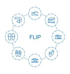 8 flip icons vector