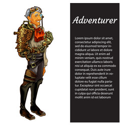 A card with a picture of adventurer isolated on vector