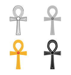 ankh icon in cartoon style isolated on white vector image