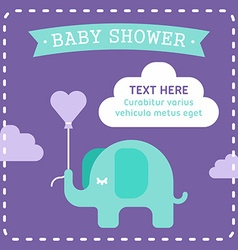 Baby shower invitation template with an elephant vector