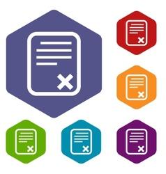 Bad document rhombus icons vector