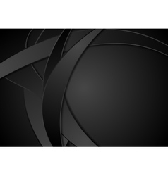 Black corporate abstract wavy background vector image