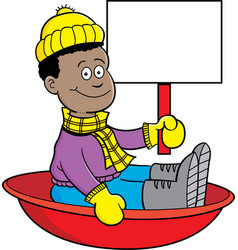 Cartoon african american boy sitting in a sled and vector