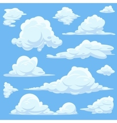 cartoon clouds in blue sky vector image