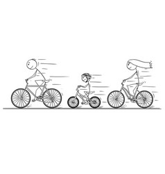 cartoon of young family riding on bicycle vector image