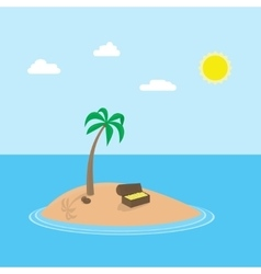 Cartoon scene of tropic island with palm vector