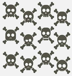 Cartoon skull with bones icon set vector image