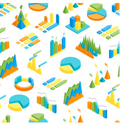 charts and graphs seamless pattern background 3d vector image