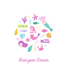 childish card with cute mermaids vector image