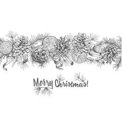 Christmas seamless garland realistic botanical ink vector