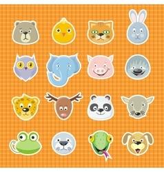 Collection cute face animal vector