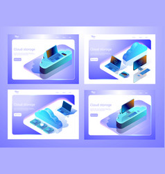 Collection of isometric cloud data storage vector