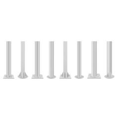 Collection realistic metal poles vector