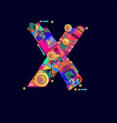 Colorful alphabet font letter x for logo vector
