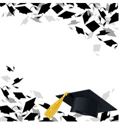 congratulatory background with graduate caps vector image