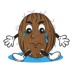 crying coconut in puddle vector image