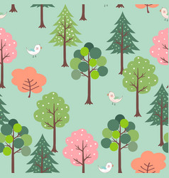 cute birds in colorful forest seamless pattern vector image