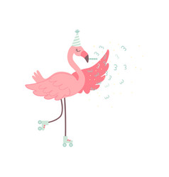 cute flamingo rollerblading wearing party hat vector image