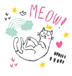 cute funny cat set vector image