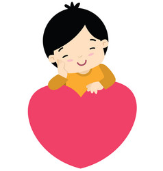 Cute little boy leaning on a heart valentines day vector