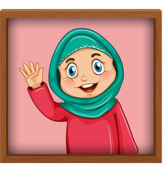 Cute muslim girl picture in photo frame vector