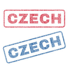 Czech textile stamps vector