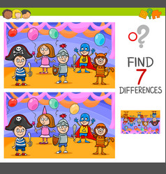 Differences game with kids on masked ball vector