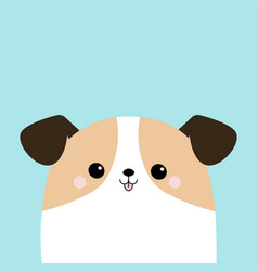 Dog face puppy icon white pooch cute cartoon vector