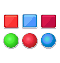 Empty glossy web buttons square and round shape vector
