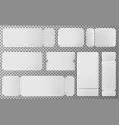 empty ticket template set blank ticket mockup vector image