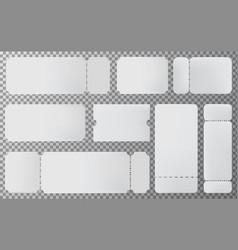 Empty ticket template set blank ticket mockup vector
