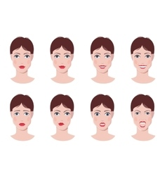 Face with emotions set vector