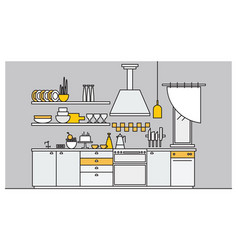 fancy interior of kitchen furnished with vector image