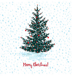 festive christmas card fir tree with red balls on vector image