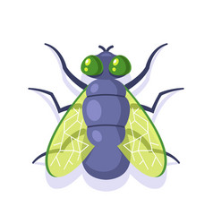 Flat green fly on a white background vector